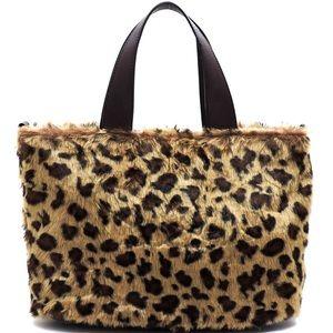 New Leopard Faux Fur double handle Satchel Handbag
